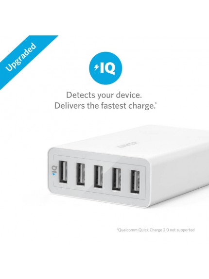 Anker PowerPort 5 40W 5-Port Desktop Charger (White) with Retail Packaging