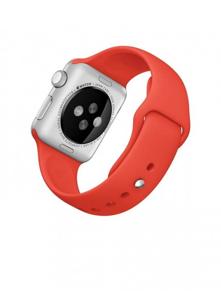 Apple Watch Sport 38mm Silver Aluminum Case with Orange Sport Band
