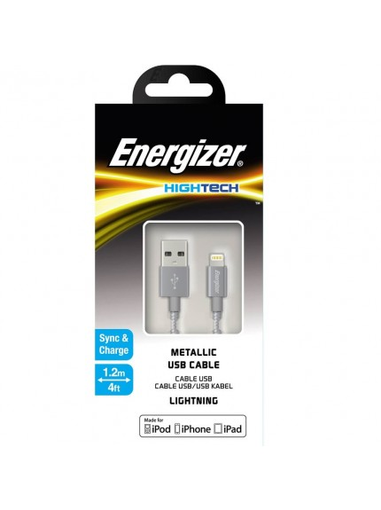 Energizer HighTech Metallic White Lightning USB Cable C13UBLIGGY4