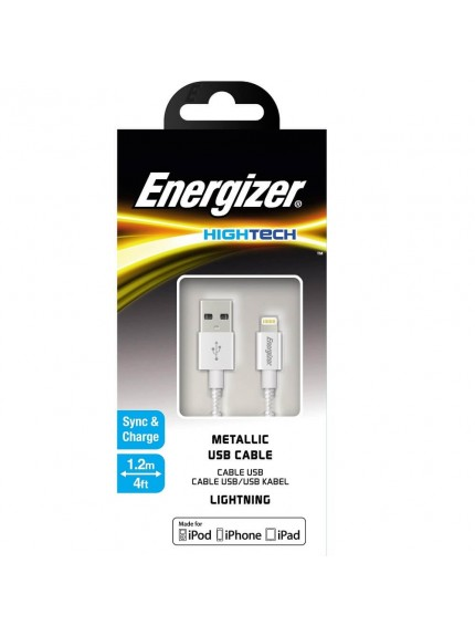 Energizer HighTech Metallic Silver Lightning USB Cable C13UBLIGSL4