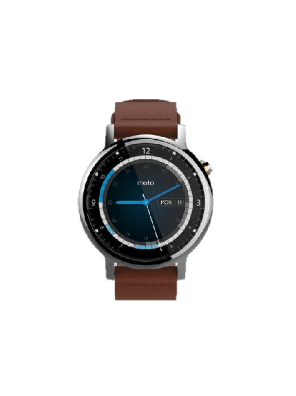 Moto 360 2nd Gen - 46mm - Silver + Cognac Leather