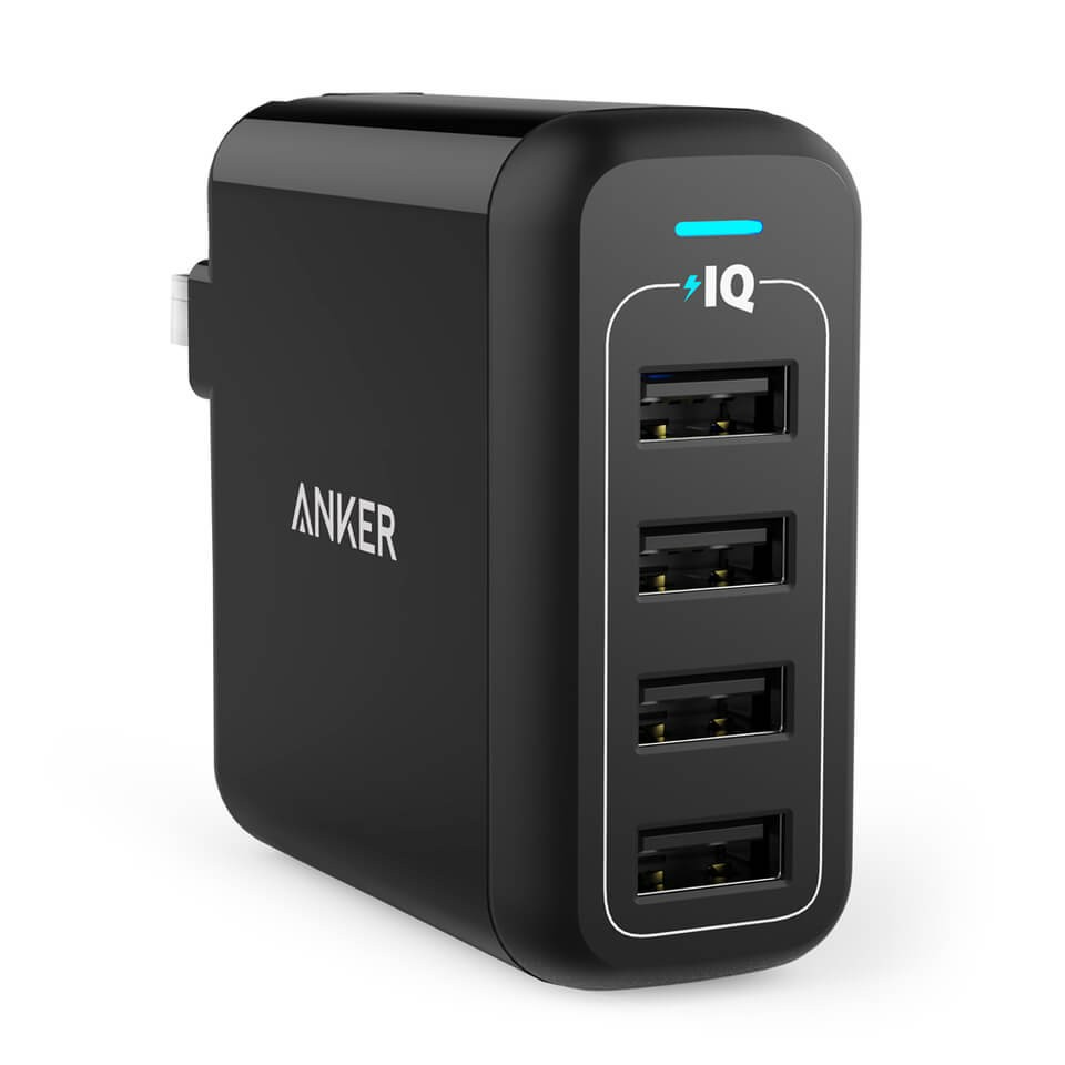 Anker PowerPort 4 40W 4-Port Foldable Wall Charger - Black 1