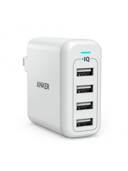 Anker PowerPort 4 40W 4-Port Foldable Wall Charger - White 1