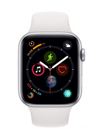 Apple Watch Series 4 GPS, 44mm Silver Aluminium Case with White Sport Band 1
