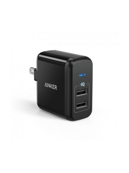 Anker 24W PowerPort 2 + 3ft MicroUSB Cable - Black 1