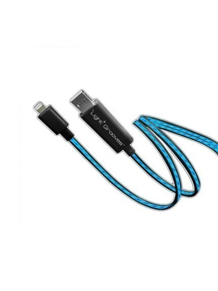 Light Grooves iPhone Cable - Black/Blue
