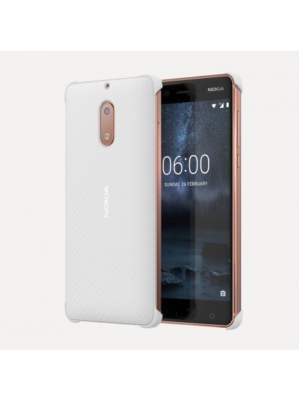 Nokia 6 Carbon Fiber Design Case - Pearl White
